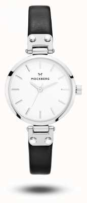 Mockberg Astrid Petite Black Leather Strap White Dial MO202
