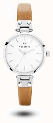 Mockberg Women's Wera Petite Brown Leather Strap White Dial MO1404