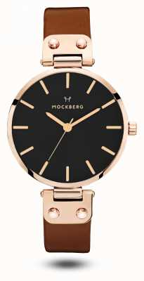 Mockberg Vilde Black Brown Leather Strap Black Dial MO115