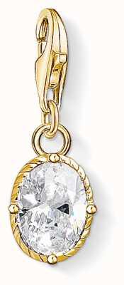 Thomas Sabo White Stone Sterling Silver Yellow Gold White Zirconia 1673-414-14