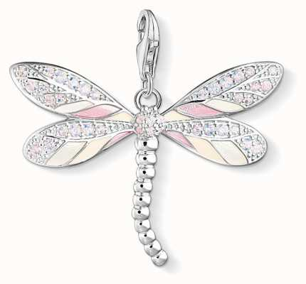 Thomas Sabo Sterling Silver Dragonfly Charm Pendant Pink Ceramic Stone Y0001-496-9