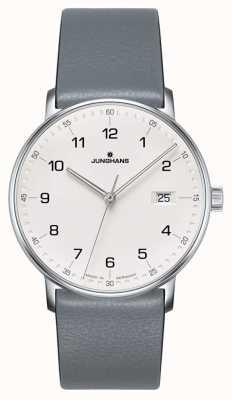 Junghans FORM Quartz grey calfskin strap watch 041/4885.00