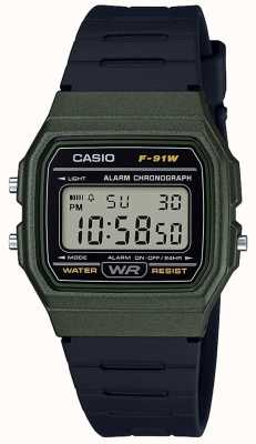 Casio Alarm Chronograph Blue & Black Case F-91WM-3AEF