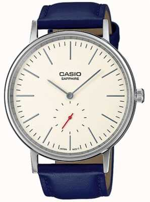 Casio Sapphire crystal cream dial blue genuine leather strap LTP-E148L-7AEF