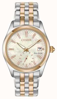 Citizen Ladies' Silhouette Two Tone Mother Of Pearl Swirl Dial Date EV1036-51Y