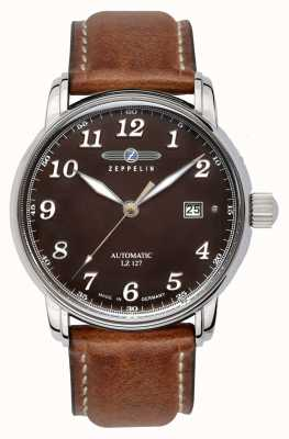 Zeppelin Graf Automatic LZ127 Date Display Brown Dial Brown Leather 8656-3