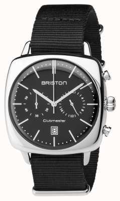 Briston Mens Clubmaster Vintage Steel Chronograph Black Textile 17140.PS.V.1.NB