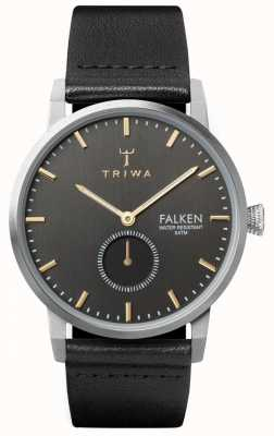 Triwa Smoky Falken Grey Dial Stainless Steel Case Leather Strap FAST119-CL010112