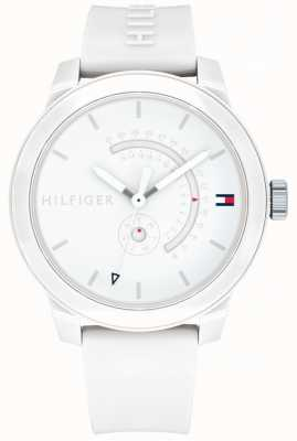 Tommy Hilfiger White Denim Day & Date Display Rubber Strap 1791481