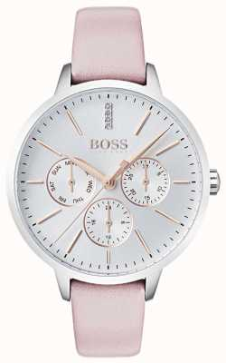 Boss Silver Dial Day & Date Sub Dial Crystal Set Pink Leather 1502419