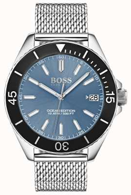 Hugo Boss Light Blue Dial Black Bezel Ocean Edition Mesh Strap 1513561