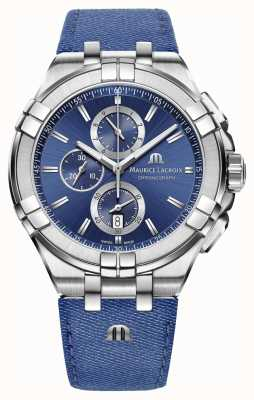 Maurice Lacroix Mens Aikon Denim-look Strap Chrono Date AI1018-SS001-431-1