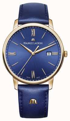 Maurice Lacroix Mens Eliros Gold Plated Case Blue Dial Leather Strap EL1118-PVP01-411-1