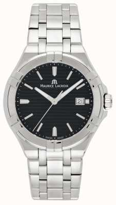 Maurice Lacroix Mens Aikon Stainless Steel Bracelet Black Dial AI1008-SS002-331-1