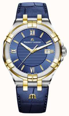 Maurice Lacroix Mens Aikon Blue And Gold Two Tone Leather Strap AI1008-PVY11-432-1
