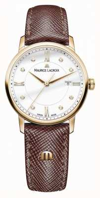 Maurice Lacroix Womens Eliros Brown Leather Strap Gold Plated Case EL1094-PVP01-150-1
