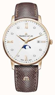 Maurice Lacroix Eliros Moonphase Brown Leather Strap Rose Gold Plated EL1096-PVP01-150-1