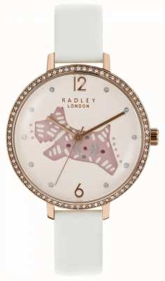 Radley Womens Folk Dog Watch Pink Dial Grey Leather Strap RY2584