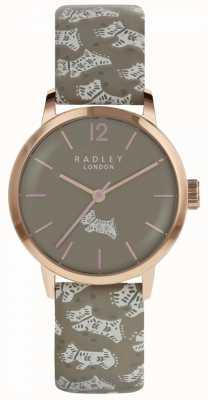 Radley Womens Folk Dog Watch Grey Dial Grey Leather Strap RY2572