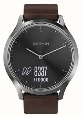Garmin Vivomove HR (Large) Premium Activity Tracker Steel/Leather 010-01850-04