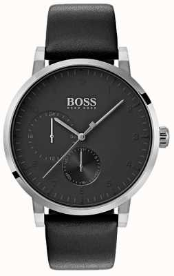 Boss Mens Oxygen All Black Watch Leather Strap Sunray Dial 1513594