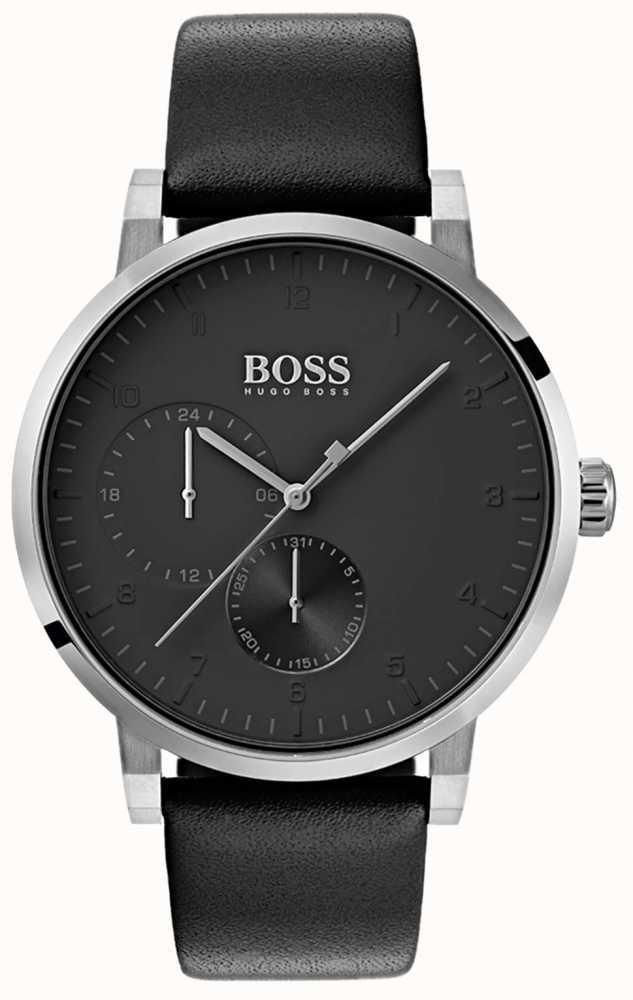 Hugo Boss Mens Oxygen All Black Watch Leather Strap Sunray