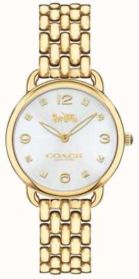 Coach Womens Delancey Slim Gold Tone Bracelet Watch Silver Dial 14502782
