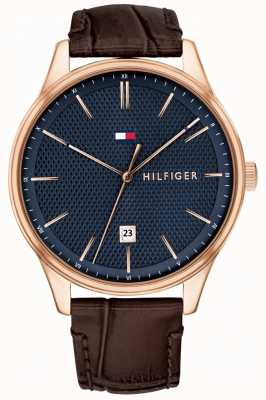 Tommy Hilfiger Mens Damon Watch Brown Leather Strap Blue Dial 1791493