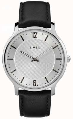 Timex Mens Slim Skyline 40mm Silver Tone Case Black Leather Strap TW2R50000
