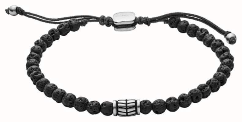 Fossil Mens Black Bead Bracelet JF02887040