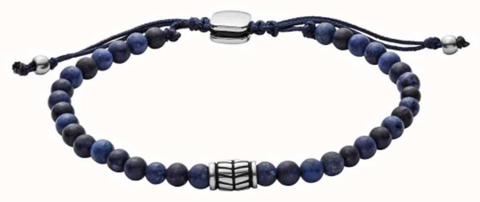 Fossil Mens Blue Bead Bracelet JF02888040