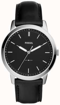Fossil Mens The Minimalist Black Leather Strap Watch FS5398