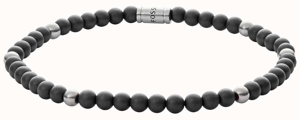 Fossil Mens Vintage Casual Hematite Bead Bracelet JF02834040