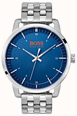 Hugo Boss Orange Stockholm Men's Blue Dial Silver Stainless Steel Bracelet 1550076