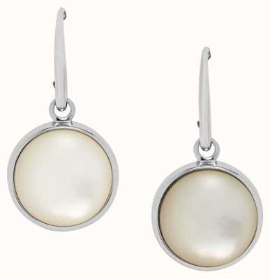 Fossil Womens Silver Tone Drop Pearl Earrings JF02902040