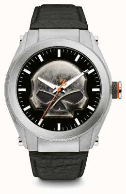 Harley Davidson Heavy Metal Skull Dial Thick Case Black Leather Strap 76A156