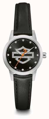 Harley Davidson Women's Crystal Set Black Logo Dial Black Leather Strap 76L181