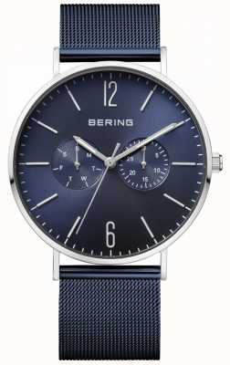 Bering Classic Blue Dial Blue Mesh Bracelet Day & Date Display 14240-307