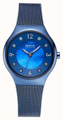 Bering Solar Polished Blue Dial And Blue Mesh Bracelet Crystal Set 14427-393