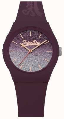 Superdry Women's Glitter Dial Purple Silicone Case & Strap SYL179R