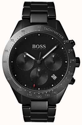Boss Mens Talent Black Dial Date Display Black IP Plated Bracelet 1513581