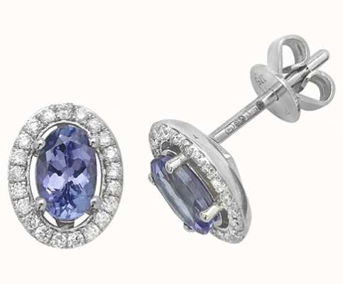 Treasure House 9k White Gold Tanzanite Diamond Halo Stud Earrings ED247WT