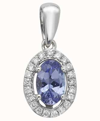 Treasure House 9k White Gold Diamond Tanzanite Oval Halo Pendant PD238WT