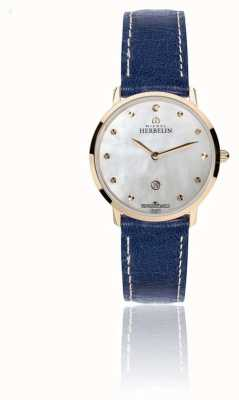 Michel Herbelin Womens Ikone Blue Leather Strap Mother Of Pearl Dial 16915/PR59BL