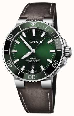 Oris Mens Aquis Date Green Dial Black Brown Strap 01 733 7730 4157-07 5 24 10EB