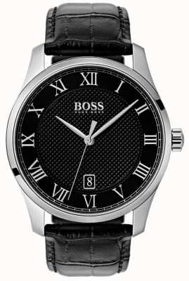 Boss Mens Master Black Dial Black Leather Watch 1513585