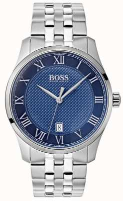 Hugo Boss Mens Master Blue Dial Stainless Steel Bracelet Watch 1513602