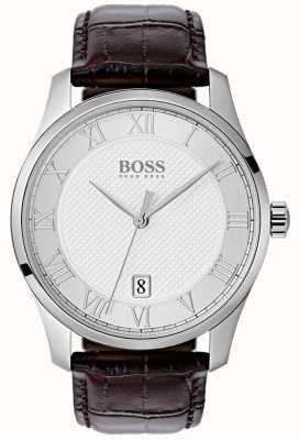 Hugo Boss Mens Master Silver Dial Blue Leather Watch 1513586
