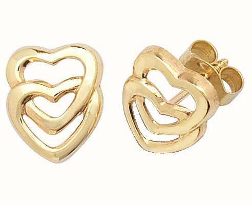 Treasure House 9k Yellow Gold Double Heart Stud Earrings ES309