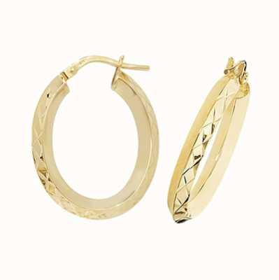 James Moore TH 9k Yellow Gold Oval Hoop Earrings ER1018-V3